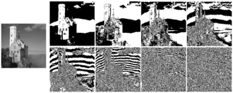 Bit plane - The 8 bit-planes of a gray-scale image (the one on left). There are eight because the original image uses eight bits per pixel.