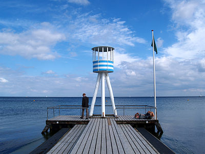 One of Jacobsen's lifeguard towers at Bellevue Beach Life guard tower, Klampenborg.jpg