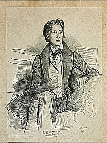 Franz Liszt 1832, Lithografie von Devéria (Quelle: Wikimedia)