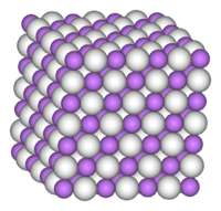 Space-filling model of part of the crystal structure of lithium hydride