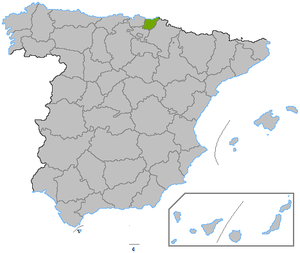 Location of the province of Guipúzcoa, in Spain.