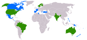 Phantom (comics) - Map of countries printing The Phantom. Green countries have regular Phantom publications, while blue countries print the dailies/Sundays in newspapers.