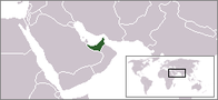 A map showing the location of United Arab Emirates