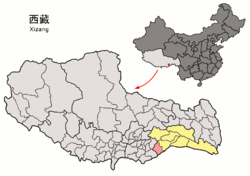 Location of Nang County within Tibet