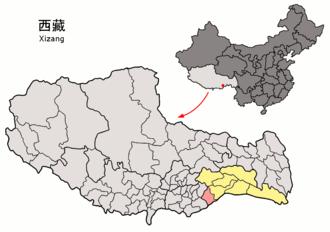Nang County - Image: Location of Nang within Xizang (China)
