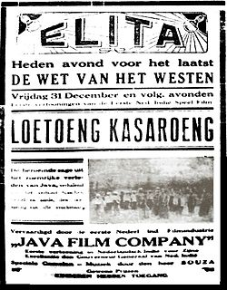 A poster with Malay-language text, reading Loetoeng Kasaroeng in large letters; an image is also visible.