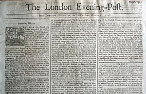 London Evening Post - Front page of the London Evening Post for October 21-23, 1746