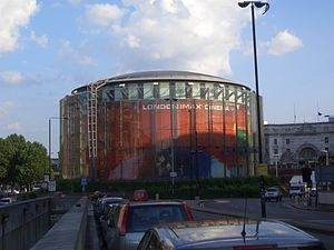 Waterloo Road, London - The BFI London IMAX cinema towards the north-west end of Waterloo Road.