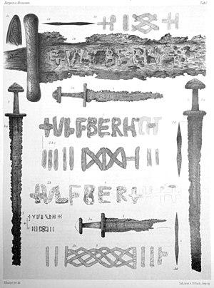 Ulfberht swords - Four Ulfberht swords found in Norway (drawings from Lorange 1889).