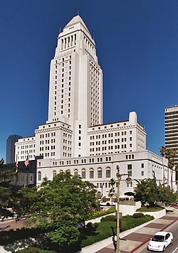 Los Angeles City Hall stands at the southern border of the Los Angeles Civic Center.