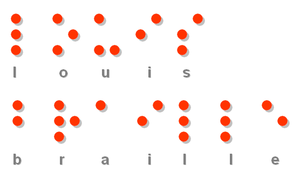 """Louis Braille"" in braille"