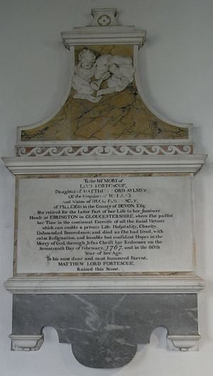 Filleigh - Mural monument to Lucy Fortescue (died 1767), 2nd wife and widow of Hugh Fortescue (died 1719), father by his 1st wife Bridget Boscawen of Hugh Fortescue, 1st Baron Fortescue and 1st Earl Clinton (1696–1751), and by his 2nd wife, the subject of the monument, of Matthew Fortescue, 2nd Baron Fortescue (1719–1785), father of Hugh Fortescue, 1st Earl Fortescue (1753–1841)