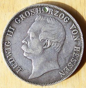 Louis III, Grand Duke of Hesse - 1859 thaler of Hesse, depicting Louis III.