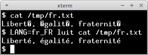 luit rendering ISO 8859-1 accented characters on a UTF-8 terminal emulator.