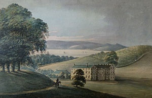 "Lupton, Brixham - Lupton House, 1793 watercolour by Rev John Swete titled: ""Lupton, seat of Sir Francis Buller"""