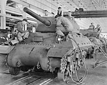 M10 shown in mass production at General Motors tank arsenal.