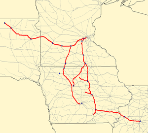 Minneapolis and St. Louis Railway - Image: MSTL Map