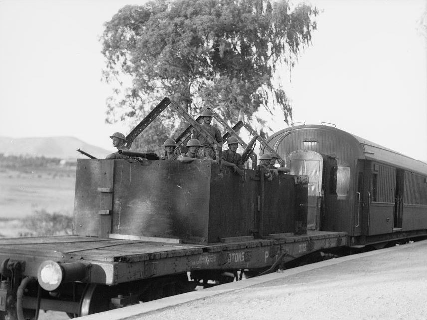 Machine-gun coach at the rear of passenger train
