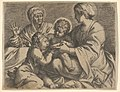 Madonna and Child with Saints Elizabeth and John the Baptist (Madonna della Scodella), the seated Mary and the infant Christ hold a cup from which the young Baptist drinks, Elizabeth lifts both hands MET DP832192.jpg
