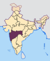 Map showing Maharashtra (purple) in India.