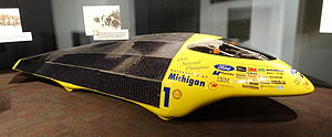 University of Michigan Solar Car Team - Michigan's 1993 solar car, Maize and Blue, on display at the Museum of Science and Industry