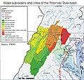 Major sub-basins and cities of the Potomac River basin.jpg