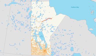Gillam, Manitoba - Manitoba Provincial Road 280 (red) links Gillam to the rest of Manitoba