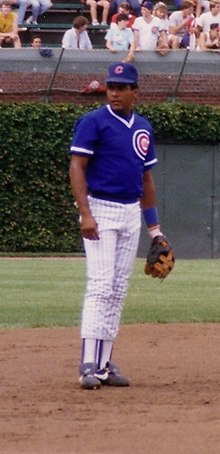 A brown-skinned man wearing a blue baseball jersey and cap and white pinstriped baseball pants