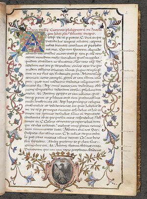 King's manuscripts, British Library - First page of an Italian illuminated manuscript of Cicero's Philippics; Kings MS 21 f. 2.