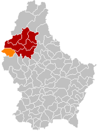 Map of Luxembourg with Boulaide highlighted in orange, the district in dark grey, and the canton in dark red