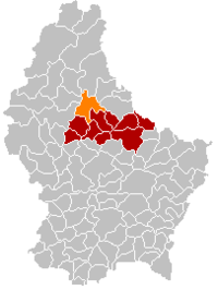 Map of Luxembourg with Bourscheid highlighted in orange, and the canton in dark red