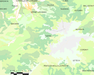 Casteil - Map of Casteil and its surrounding communes