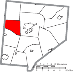 Location of Adams Township in Clinton County