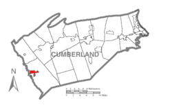 Map of Cumberland County, Pennsylvania highlighting Shippensburg Township