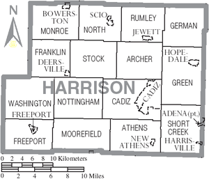 Harrison County, Ohio - Map of Harrison County, Ohio with Municipal and Township Labels