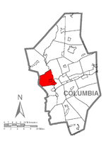 Map of Columbia County, Pennsylvania highlighting Hemlock Township