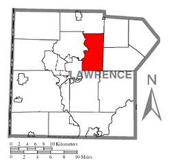 Location of Hickory Township in Lawrence County