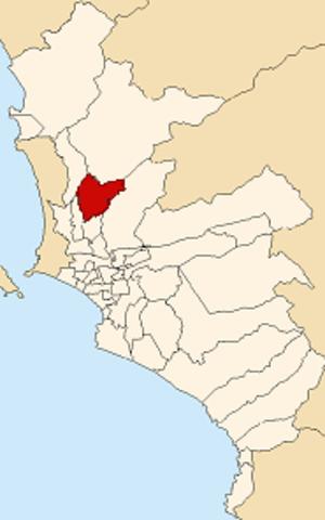 Comas District, Lima - Image: Map of Lima highlighting Comas