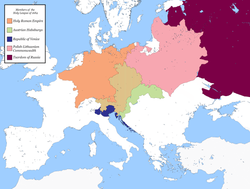 Mapa dos membros da Liga Sagrada Membros da Liga Sagrada: Comunidade Polonesa-Lituana Império Habsburgo República Veneziana Tsardom da Rússia