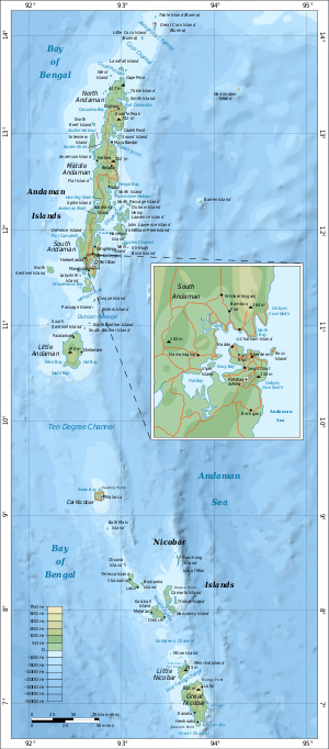English: Map of the Nicobar and Andaman Islands.