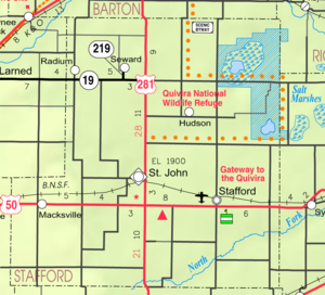 St. John, Kansas - Image: Map of Stafford Co, Ks, USA
