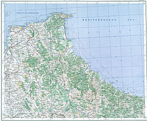 Battle of Tangier (1437) - Topographic map of the region around Tangier and Ceuta (1954 map)