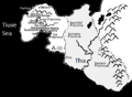Map of the (fictional) nation of A-Io in the literature of Ursula K LeGuin (B&W).png