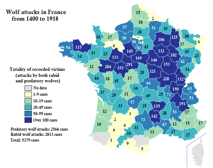 Map of wolf attacks on humans in France with text