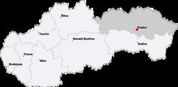 Location of Prešov within Slovakia