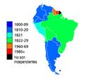 Mapa político - Fecha de Independencia de los Estados sudamericanos.png