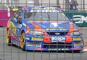 Marcos Ambrose - Ambrose in his Stone Brothers Racing Ford Falcon BA on the Surfers Paradise Street Circuit in October 2005