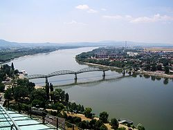 Landscape of the town with Mária Valéria Bridge over the Danube as seen from the Esztergom Basilica