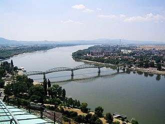 Štúrovo - Landscape of the town with Mária Valéria Bridge over the Danube as seen from the Esztergom Basilica