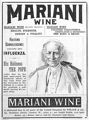 "Testimonial - Pope Leo XIII endorses ""Vin Mariani"", a patent medicine containing cocaine."